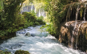 Картинка деревья, ветки, камни, поток, Река, водопады