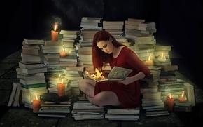 Картинка девушка, огонь, книги, свечи