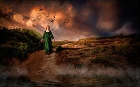 Картинка река, путь, женщина, тропа