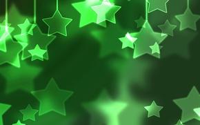 Обои праздники, снег, звёзды, зима, рождество, зелёный, новый год, настроение, шары