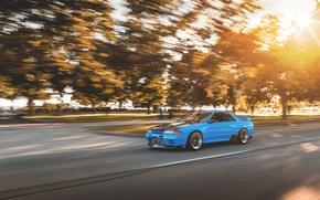 Картинка car, GT-R, в движении, R32, Nissan Skyline