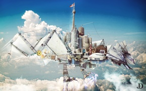 Картинка небо, город, коллаж, рендер, digital art, the mechanical phoenix
