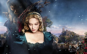 Картинка Girl, Fantasy, Sky, Rose, the, and, Beauty, Wallpaper, Blonde, Castle, Prince, Beast, Beauty and the …