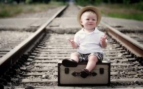 Обои настроение, мальчик, железная дорога