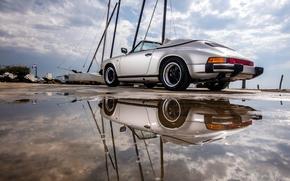 Обои Porsche, авто, 911, car, Speedster, отражение, Carrera, лужа