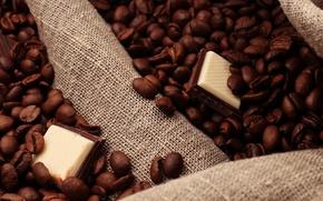 Обои кофе, шоколад, зерна, дольки, chocolate, coffee