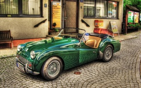 Картинка vintage, old, retro, cabriolet, old style, car, green, Triumph TR3, old car