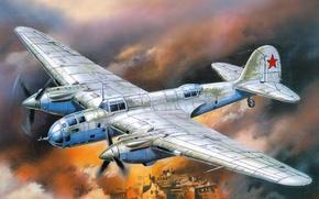 Картинка небо, город, пламя, дым, рисунок, арт, бомбардировщик, советский, двухмоторный, пикирующий, ВоВ, Ар-2