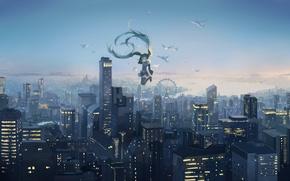 Картинка небо, девушка, закат, птицы, город, высота, дома, аниме, арт, колесо обозрения, vocaloid, hatsune miku, spencer …