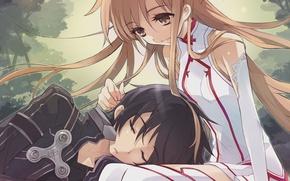 Обои asuna, kirito, Sword art online