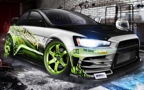 Картинка Mitsubishi, lancer, evo X, Drift car