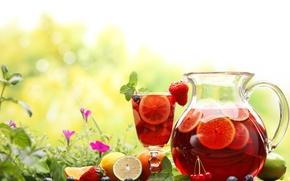Обои цветы, графин, черника, ягоды, вишня, компот, стакан, кувшин, клубника, природа, напиток, фрукты, лимоны, апельсин, лето, ...