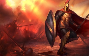 Картинка Spartan, shield, warrior, helmet, spear, Pantheon League of Legends
