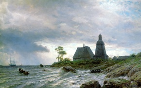 Картинка вода, природа, дом, камни, люди, берег, парусник, картина, лодки, живопись, Лагорио Лев, море волны, северный …