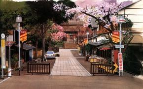 Картинка деревья, машины, улица, дома, ограда, Япония, фонари, лестница, дорожка, храм, цветение, дорожные знаки, by Kusanagi