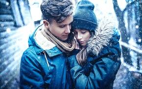 Обои пара, девушка, любовь, снег, парень