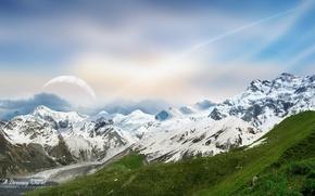 Картинка небо, снег, горы, Dreamy World