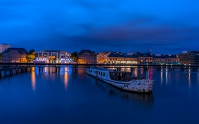 Картинка ночь, огни, река, Германия, Берлин