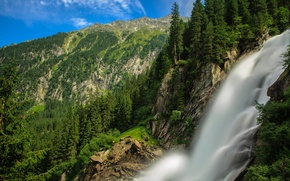 Картинка лес, горы, поток, Австрия, Альпы, Austria, Alps, водопад Кримль, Krimml Waterfalls