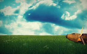 Обои самолет, настроение, небо, зелень, облака