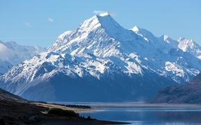 Картинка снег, горы, New Zealand, озеро., Mount Cook, Aoraki National Park