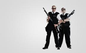 Картинка оружие, пушки, police, Саймон Пегг, Nick Frost, Simon Pegg, полицейские, Типа крутые легавые, Hot Fuzz, ...