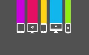 Картинка компьютер, apple, телефон, windows, android, color<, сотовый.цвета