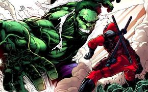 Картинка ninja, deadpool, халк, marvel, hulk, comics, gun, heroes