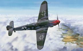 Картинка war, art, painting, drawing, ww2, bf 109, german fighter