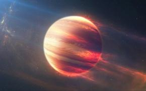 Картинка космос, звезды, полосы, огонь, планета, атмосфера, газовая