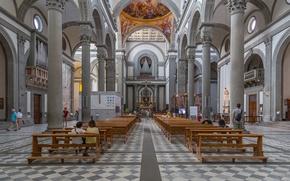 Картинка Италия, Флоренция, религия, скамья, колонна, неф, базилика Сан-Лоренцо