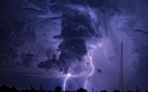 Картинка небо, природа, молния, туча