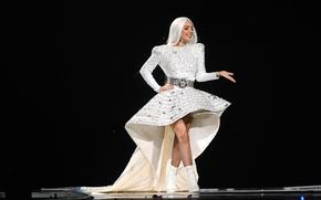 Картинка девушка, music, концерт, шоу, певица, white, fashion, знаменитость, dress, singer, live, Lady Gaga, pop, Леди ...