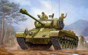 Картинка war, art, painting, tank, M26 Pershing, heavytank