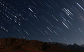 Обои съемка, плеяда, движение, звездное небо, длинная выдержка, ночь, фото, небо, звезды