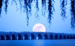 Картинка Китай, Пекин, Летний дворец, семнадцати арочный мост, восход Луны, озеро Куньмин