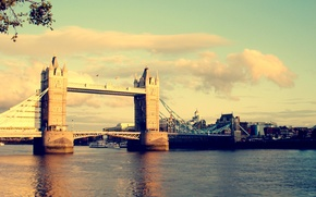 Обои тауэрский мост, мост, великобритания, свет, лондон, город, темза, цвета, вода, солнце, небо, река