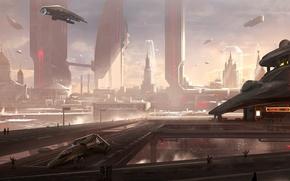 Картинка город, будущее, люди, здание, церковь, Москва, мегаполис