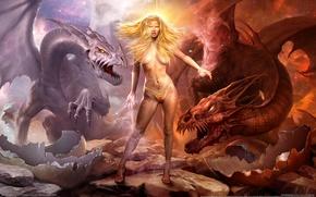 Картинка девушка, магия, драконы, war of dragons