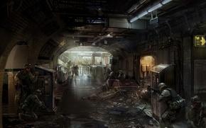 Картинка Арт, mourad, солдаты, военные, оружие, помещение, метро