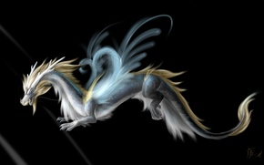 Картинка взгляд, крылья, арт, морда, дракон, хвост, черный фон, рога, фантастика