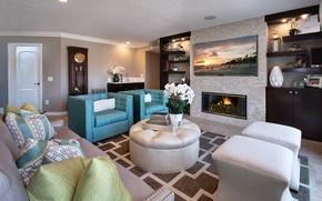 Картинка дизайн, стиль, диван, вилла, часы, интерьер, кресло, камин, гостиная