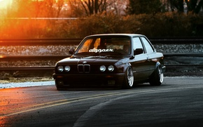 Картинка BMW, Car, Front, Black, Sun, E30, Stance, Dapper, Ligth