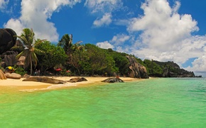 Обои пляж, тропики, камни, пальмы, скалы, побережье, остров, Сейшелы, индийский океан, La Digue Island