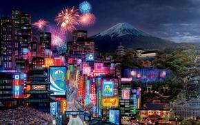 Обои Фудзияма, Walt Disney, спорт, машины, Молния, город, огни, салют, Тачки 2, Cars 2, racing, Pixar, ...