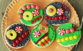 Картинка цветные, еда, конфеты, сладости, рожицы, печеньки, веселые