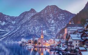 Обои Alps, Lake Hallstatt, Hallstatt, Austria, озеро, Гальштатское озеро, дома, зима, Австрия, горы, Гальштат, Альпы