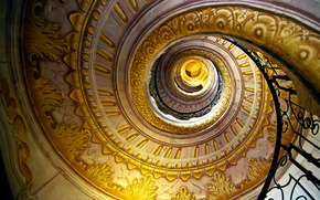 Картинка узоры, спираль, Лестница, перила, золотой