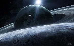 Картинка космос, звезды, планеты, спутник, кольца, арт, qaz2008