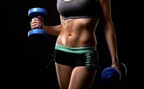 Обои woman, sportswear, dumbbells, fitness, pose